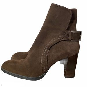 TOD'S Brown Suede Buckle Heel Ankle Boots 8 EUC